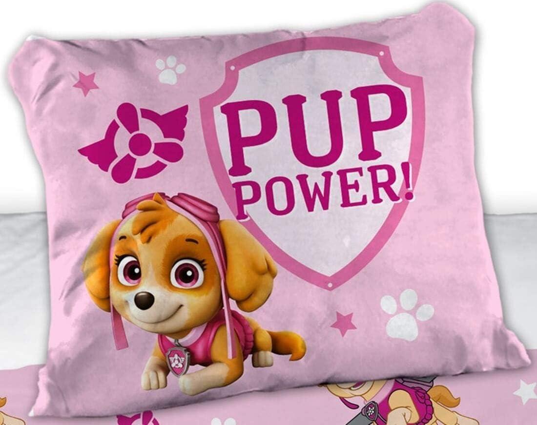 funda n/órdica de 100 x 135 cm Juego de cama para ni/ña gris rosa funda de almohada de 40 x 60 cm Paw Patrol algod/ón color rosa