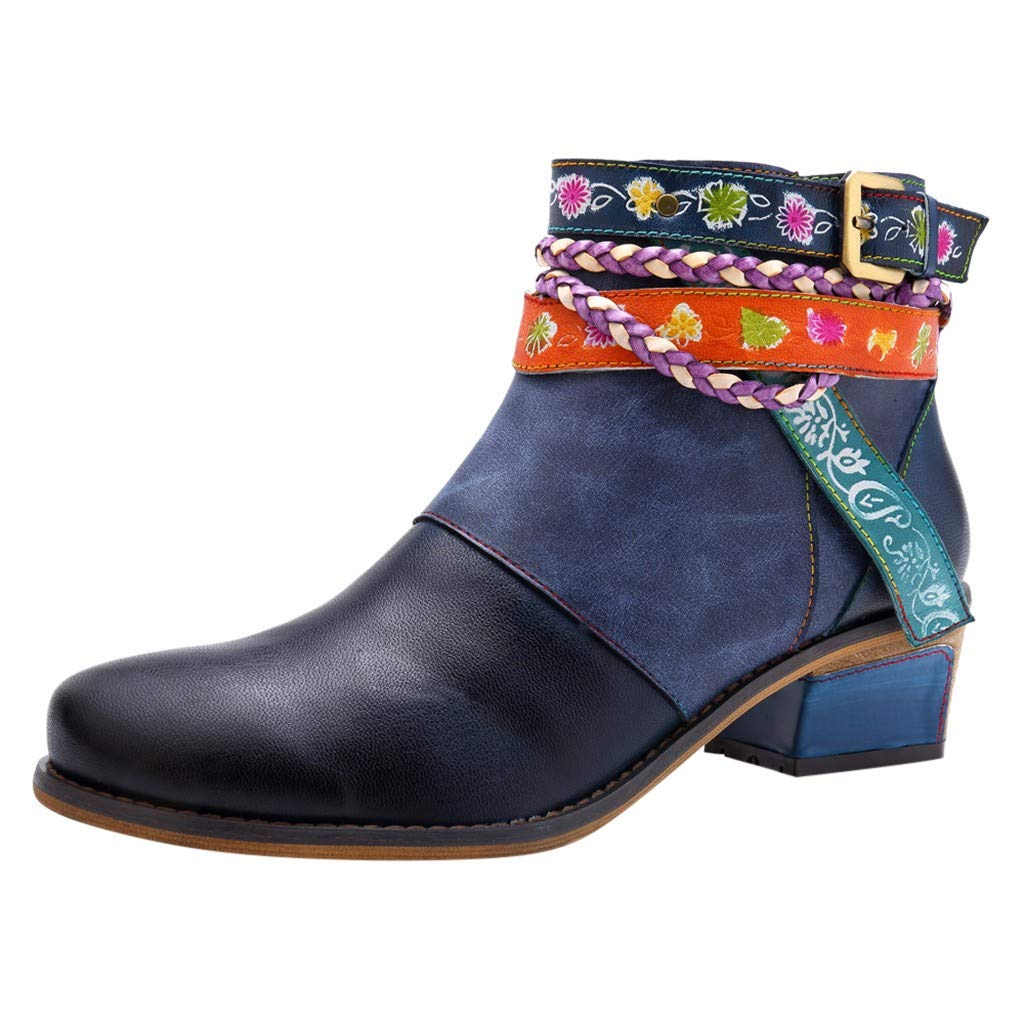 Fsqjgq Boots Casual Short Tube Combat Suede Booties Damping Shoes Women Embroidered Ankle Bare Female Heel Blue by FSQJGQ-shoes