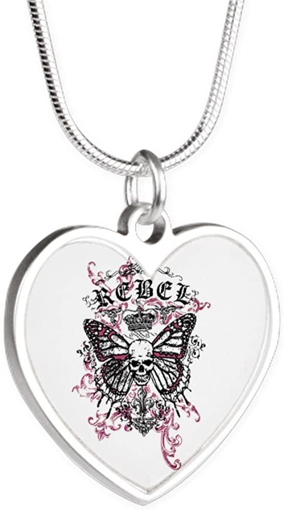 Royal Lion Silver Heart Necklace Rebel Butterfly Skull Goth