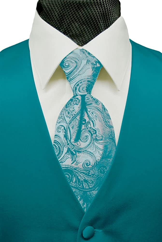 43-46 L Solid Satin with Tapestry Tie Turquoise Cardi Mens Tuxedo Vest