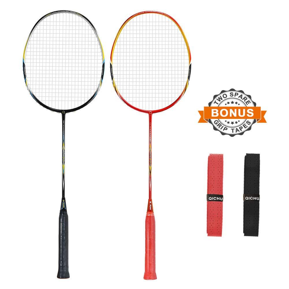 QICHUAN 2 PCS 100% Graphite Badminton Racket Set, Large Racquet Bag / 2 Grip Tapes Included (Black+Red)