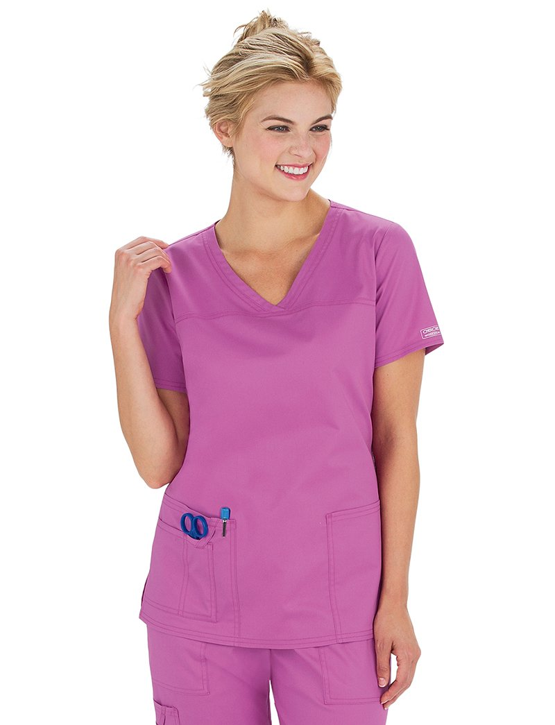 Core Stretch by Cherokee Workwear Women's V-Neck Yoke Solid Scrub Top XX-Large Purple Blast