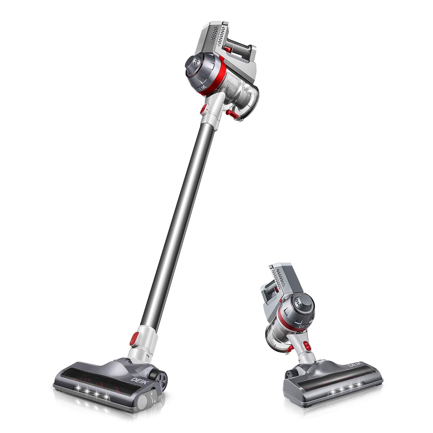 Deik Cordless Vacuum Cleaner, 2019 Upgrade Version, 2 in 1 Stick and Handheld Vacuum with Powerful Suction & LED Brush for Home and Car Cleaning - Silver