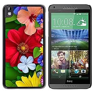 [Neutron-Star] Snap-on Series Teléfono Carcasa Funda Case Caso para HTC DESIRE 816 [Floral de primavera coloridas Flores rojas del flor]