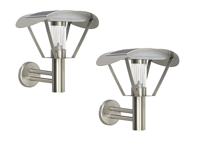 Ranex Juego de 2 Solar apliques, lámpara LED exterior acero ...