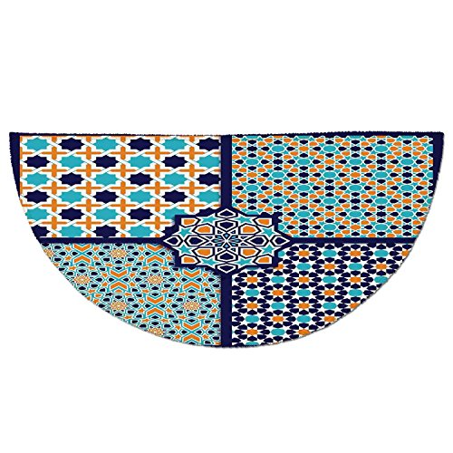Half Round Door Mat Entrance Rug Floor Mats,Arabian,Different Asian Ornate Mosaic Patterns Historical Lines Heritage Culture,Blue Orange White,Garage Entry Carpet Decor for House Patio Grass Water