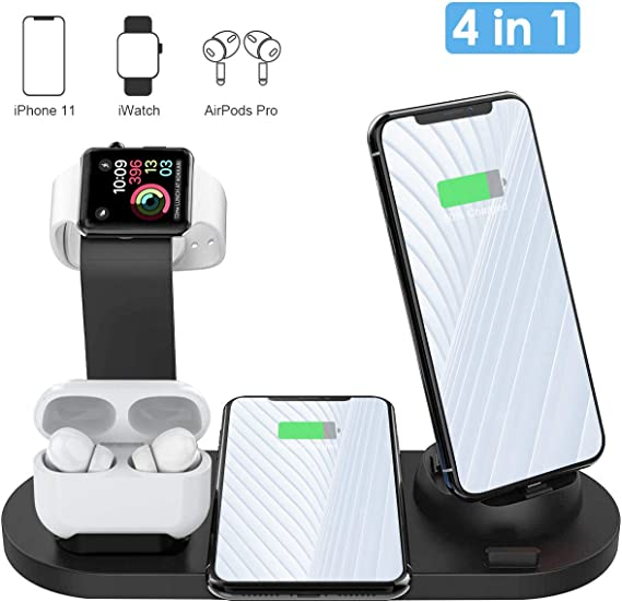 Wireless Charger, AQHQUA 4 in 1 Wireless Charging Stand for Apple Watch and Airpods, Qi Fast Wireless Charging Dock Compatible iPhone 1111 Pro