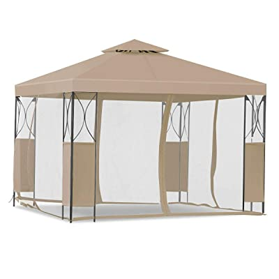 Kanizz Day & Night 10'x10' Outdoor Dinner Wedding Birthday Party Event Shelter, Canopy Home Patio Garden Celemony 2 Tiers Roof Tent Gazebo, UV&Rain Protection, 4 Mesh Ventilate Side Wall, Coffee : Garden & Outdoor