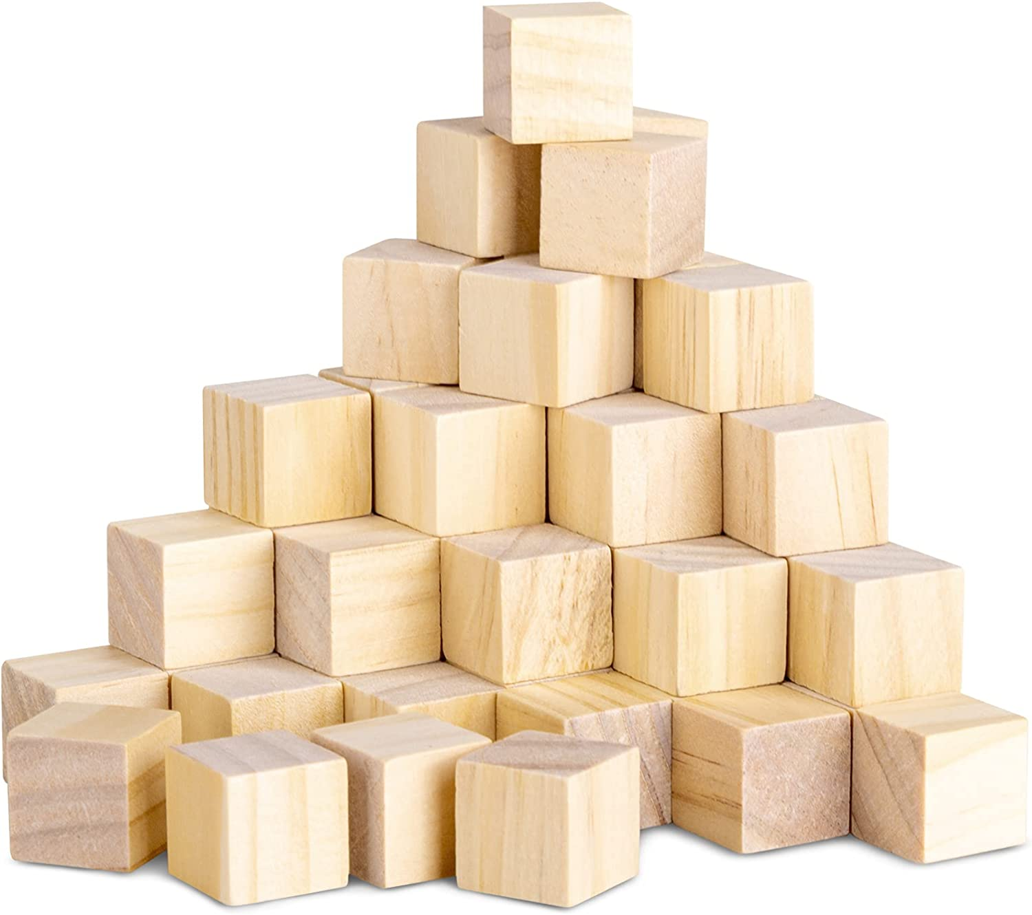50 Pack Wooden Blocks, GUCTOP Unfinished Wood Cube Boxes 3/4