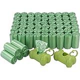 Bringer - Bolsa para desechos de perro verde de 1200 cuentas, bolsas para excremento de mascotas con 2 dispensadores, 60 roll