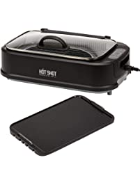 Charles Oakley Hot Shot Indoor Electric Smokeless Grill – Indoor / Outdoor Use | Electric, Compact & Portable Grilling...