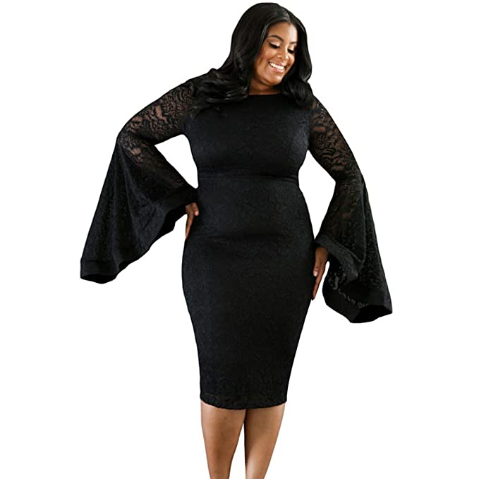 Sugarwewe Sexy Plus Size Bell Sleeves Lace Dress Party Dress Plus At