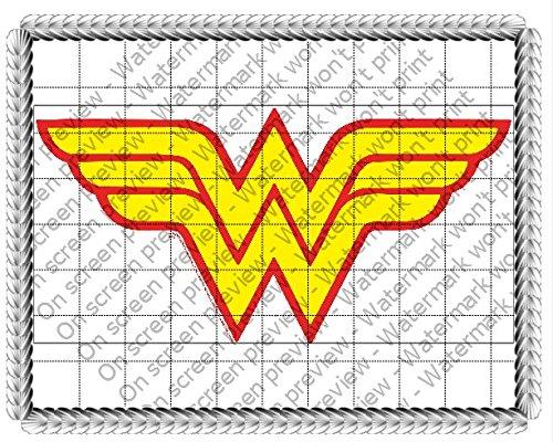 Wonder Woman Logo Edible Icing Image Cake Topper (6 Inch Round) (Wonderwoman Cake)