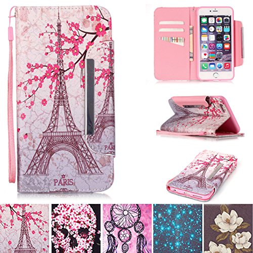 iPhone 5/5S Case, iPhone SE Case, [Card Slots] [Kickstand] Flip Folio Wallet Case Synthetic Leather Shell Scratch Resistant Protective Cover for Apple iPhone 5/5S SE- Tower