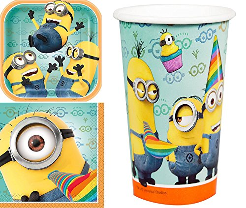 1 X Despicable Me 2 Party Supplies Pack Including Plates, Cups and Napkins - 8 (Despicable Me 2 Costumes Vector)