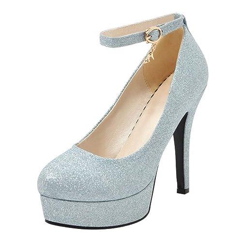 f682e681 Coolulu Mujer Zapatos de Tacón Alto Plataforma Correa de Tobollo con  Hebilla Cerrado Brillante Fiesta Boda para Novia: Amazon.es: Zapatos y  complementos