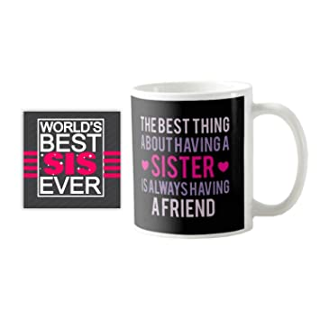 Buy YaYa CafeTM Birthday Gifts For Sister Best Mug With Coaster Set Of 2 Online At Low Prices In India