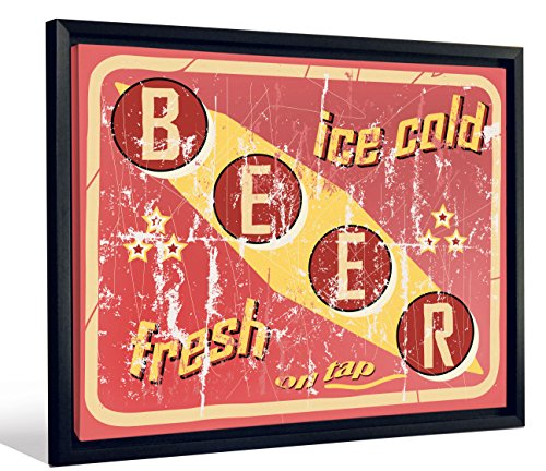 JP London Framed Vintage Distressed Ice Cold Beer Sign Gallery Wrap Heavyweight Canvas Art Wall Decor, 20.375