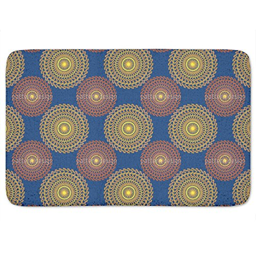 Solar Circles On Blue Bathroom Rugs: Memory Foam (24 X 36 inch) Incrediby Soft Memory Foam Spa Quality by uneekee