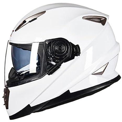 MATEROP Casco de Motocicleta de Doble Cara y Cara Completa con Sistema de Bloqueo Sheld Casco