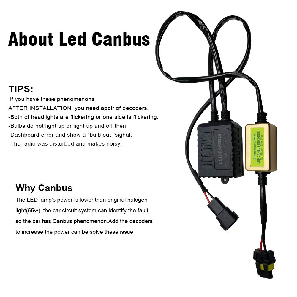 AnyCar Led Headlight Decoder 9005 9006 9012 Canbus Resistor Anti-flicker Harness Headlight Bulb Decoder