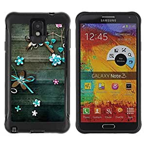 All-Round Hybrid Rubber Case Hard Cover Protective Accessory Compatible with SAMSUNG GALAXY NOTE 3 - teal lines floral rustic wood