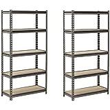 "Muscle Rack UR301260PB5P-SV Silver Vein Steel Storage Rack, 5 Adjustable Shelves, 4000 lb. Capacity, 60"" Height x 30"" Width x 12"" Depth (Set of 2)"