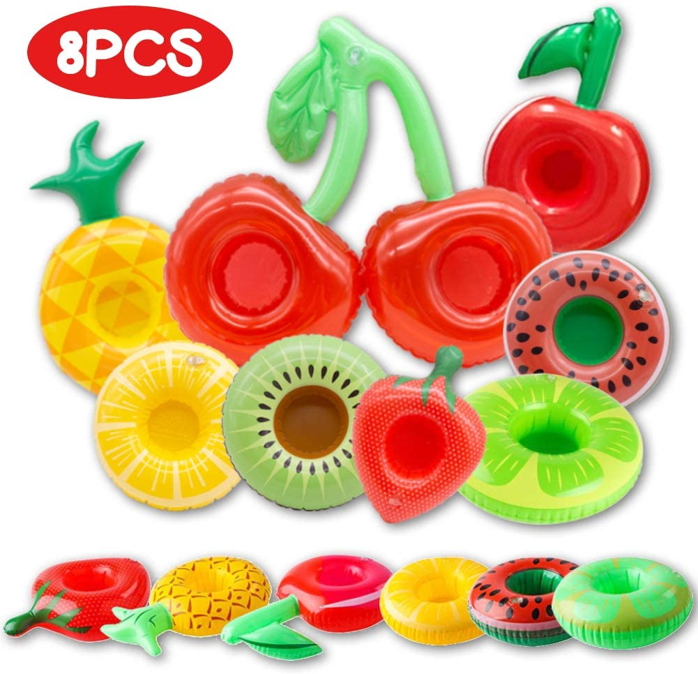 FUTUREPLUSX Fruit Inflatable Drink Holder, 8PCS Drink Pool Floats Cup Holder Floats Inflatable Floating Coasters for Pool Party Water Fun Kids Bath Toys Shower