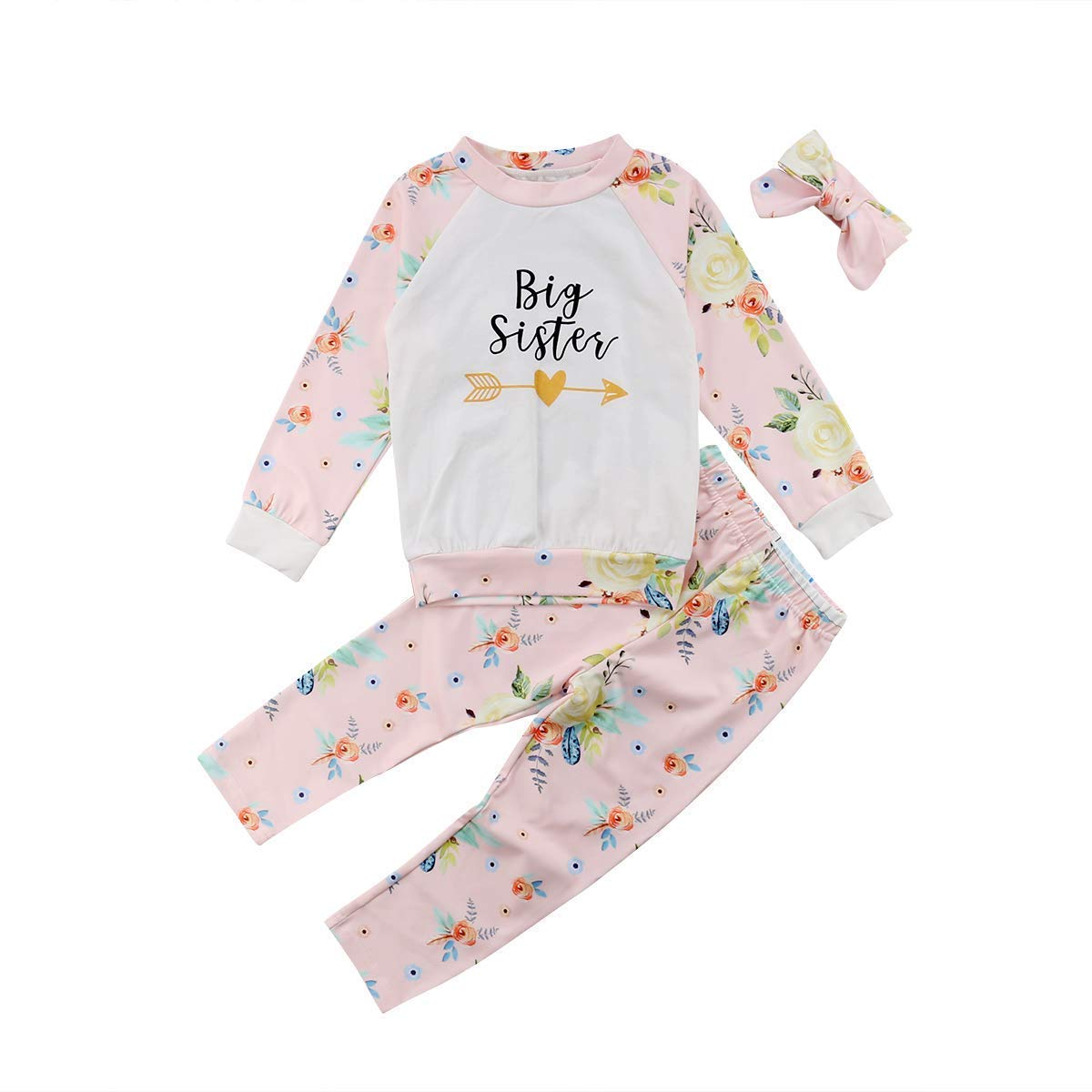 i-Auto Time Baby Girl Clothes Big Little Sister Romper T-Shirt Floral Pant Outfit Set