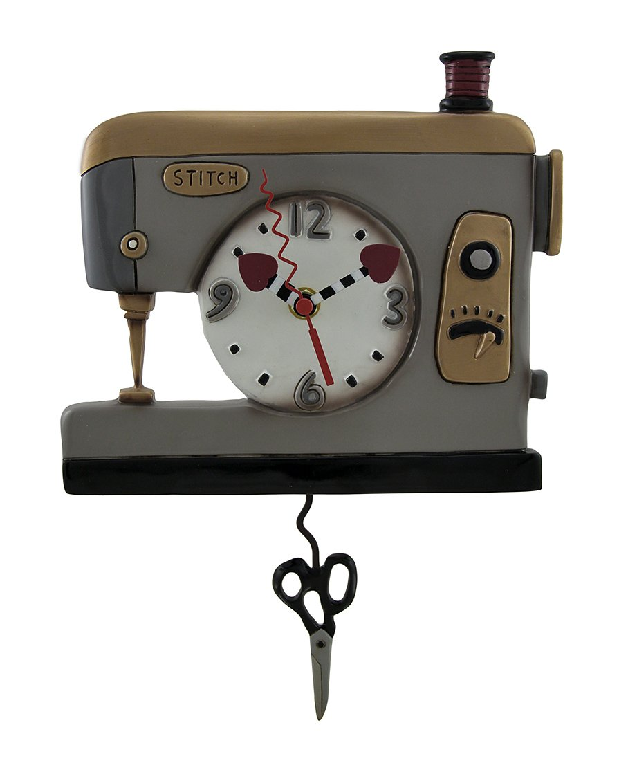 Allen Designs Resin Wall Clocks Allen Designs Back Stitch Sewing Machine Wall Clock W Swinging Scissors Pendulum 8.5 X 12 X 1.25 Inches Gray
