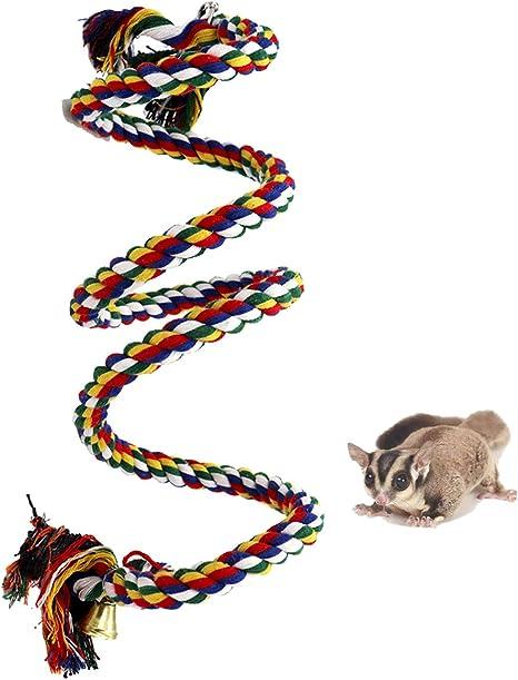 Cuerda de escalada de hurón para jaula, juguetes colgantes de cuerda de pájaro, cuerda de escalada para hurón, ratón, loro, chinchilla, rata, gerbil y ...