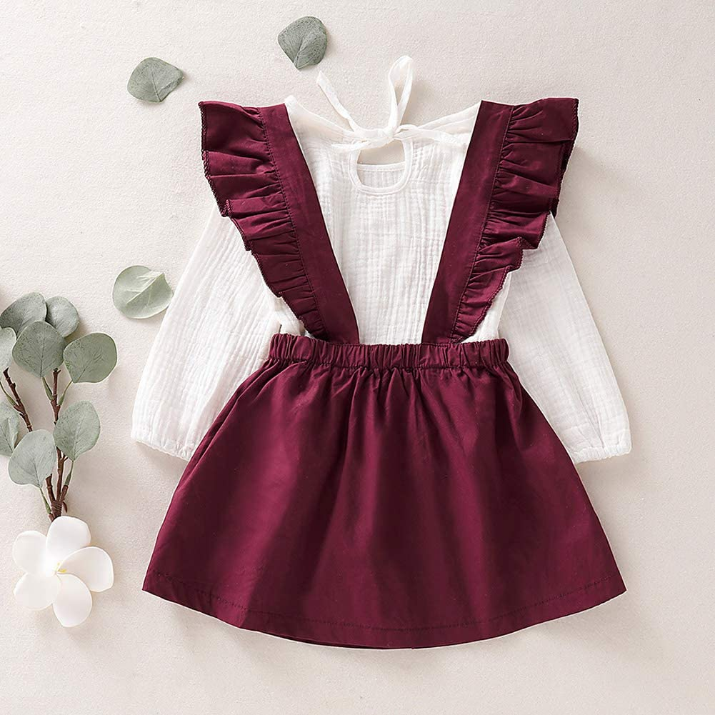 Fxhan Kids Baby Girls Long Sleeve Tops+Strap Dress 2Pcs Set Outfit Autumn Spring Clothes
