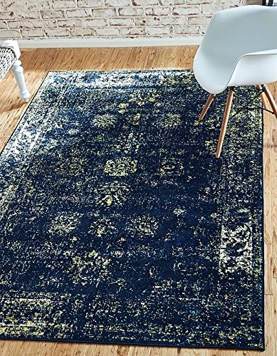 Unique Loom Sofia Collection Navy Blue 5 x 8 Area Rug (5' x 8') - Patio Border Rug