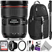 Canon EF 24-70mm f/2.8L II USM Standard Zoom Lens w/Advanced Photo and Travel Bundle - Includes: Altura Photo Sling Backpack, Monopod, UV Protector, Camera Cleaning Set