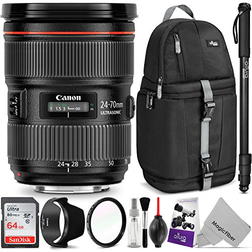 Canon EF 24-70mm f/2.8L II USM Standard Zoom Lens w/Advanced Photo and Travel Bundle