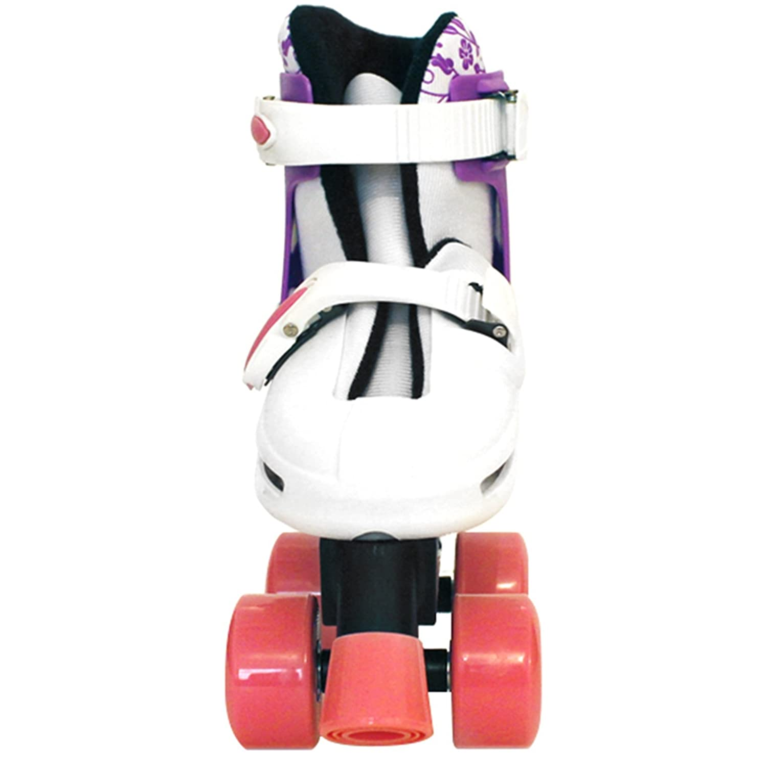 Sk8 Zone Girls Pink White Quad Skates Padded Kids Roller Boots Safety Pads Helmet Childrens Skate Set Sk8 ZoneTM️ By Eurotrade