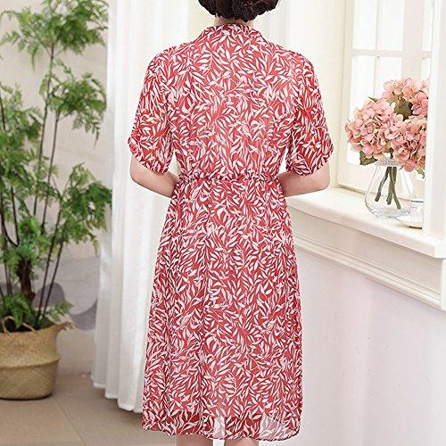Tierdruck Kleid S9865 E Abendkleid Rot Damen Übergröße Midi Seide girl Kleider Cocktail nax6x1q