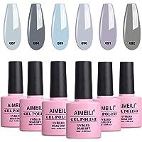 AIMEILI Soak Off UV LED Gel Nail Polish Grey Range Multicolour/Mix Colour/Combo Colour Set Of 6pcs X 10ml - Kit Set 25