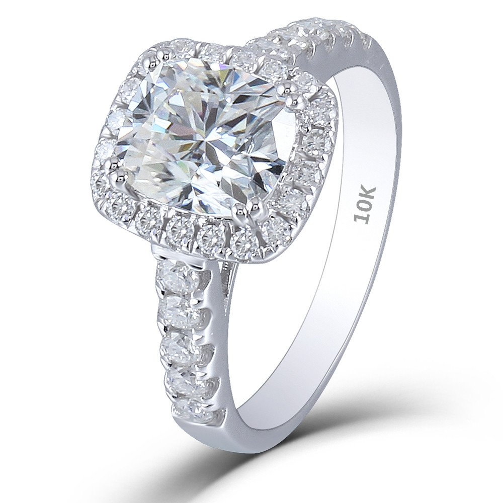 Doveggs Solid 10k White Gold Center 2ct 7x8mm Hi Color Cushion Cut Halo Moissanite Engagement Ring With Accents