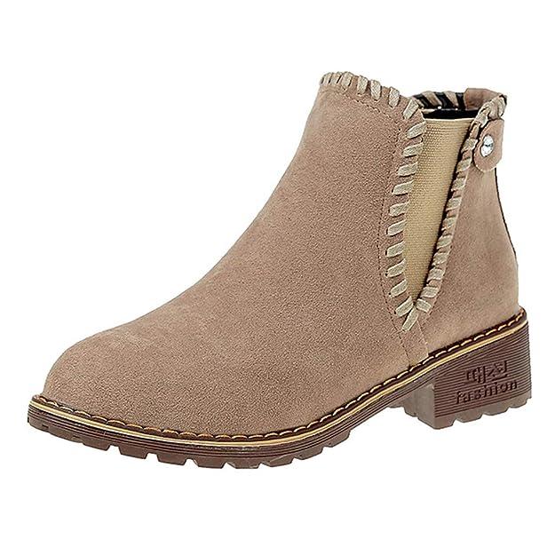 OHQ Botines Mujer Moda SóLido RebañO Invierno Botas Cortas Gruesas Fuera del Partido Zapatos De Punta Redonda CóModo Y Elegante: Amazon.es: Zapatos y ...