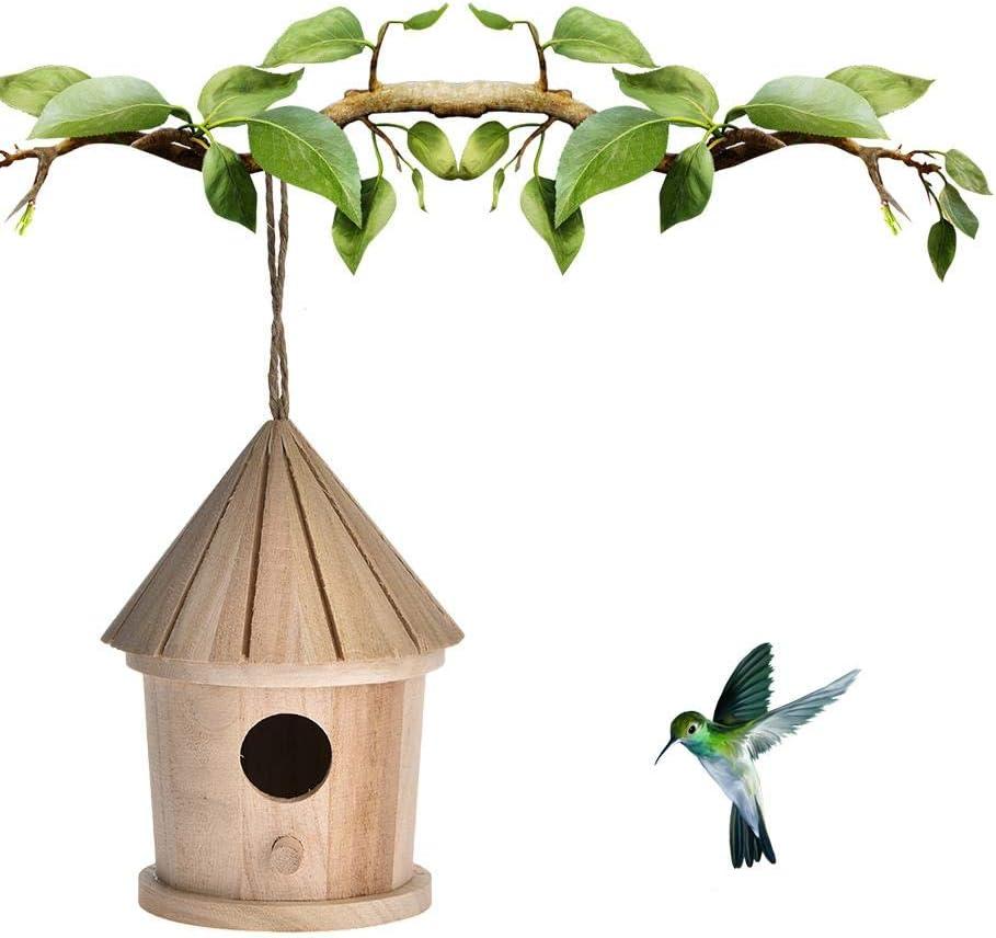 luminiu Nido para Pájaros,Casa De Madera para Pájaro Casitas para Pájaros Caja Nido para pequeños pájaros como blaum Hierro petirrojo Gorriones Decoración de Jardín Terraza O Balcón