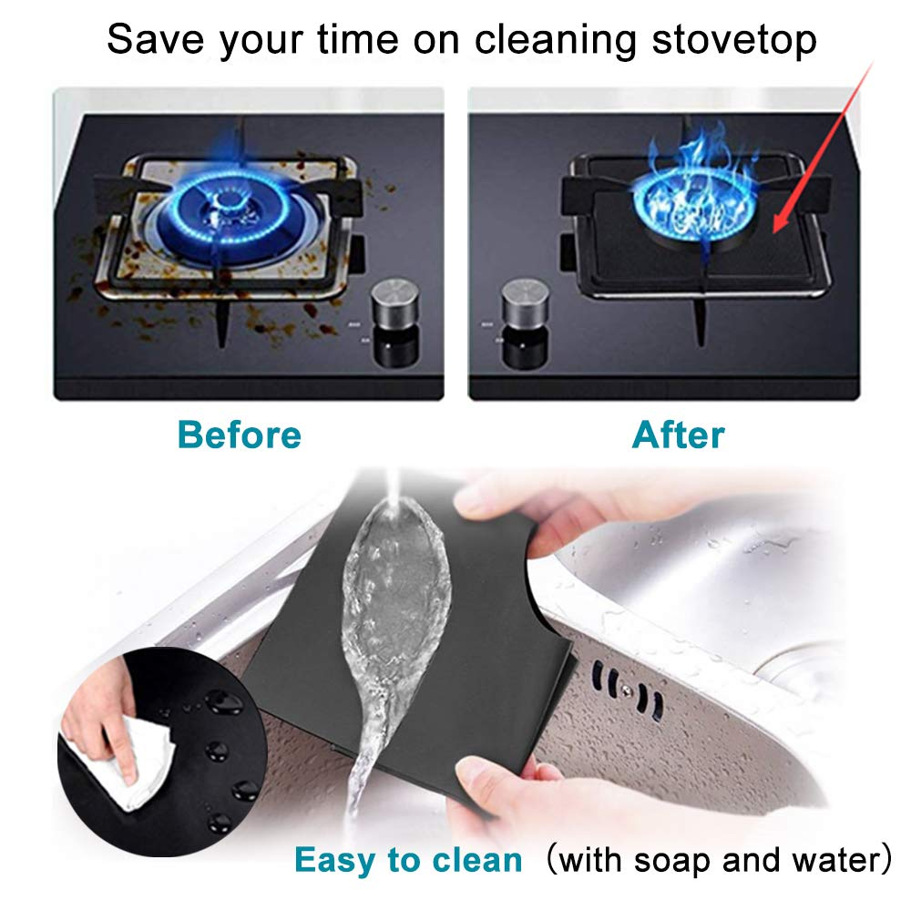 """B. SHINE Stove Burner Covers - Reusable Gas Stove Burner Liners Gas Range Protectors, Keep Your Gas Stovetop Clean, Size 10.6""""x 10.6"""", 8 Pack"""