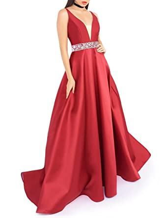 116f677a64b3 Verabeauty Sexy Red Satin Prom Dress Deep V-Neck Masquerade Ball Gown B022  at Amazon Women s Clothing store