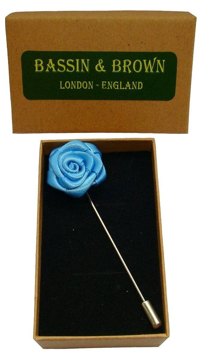Bassin and Brown Mens Rose Flower Lapel Pin Blue