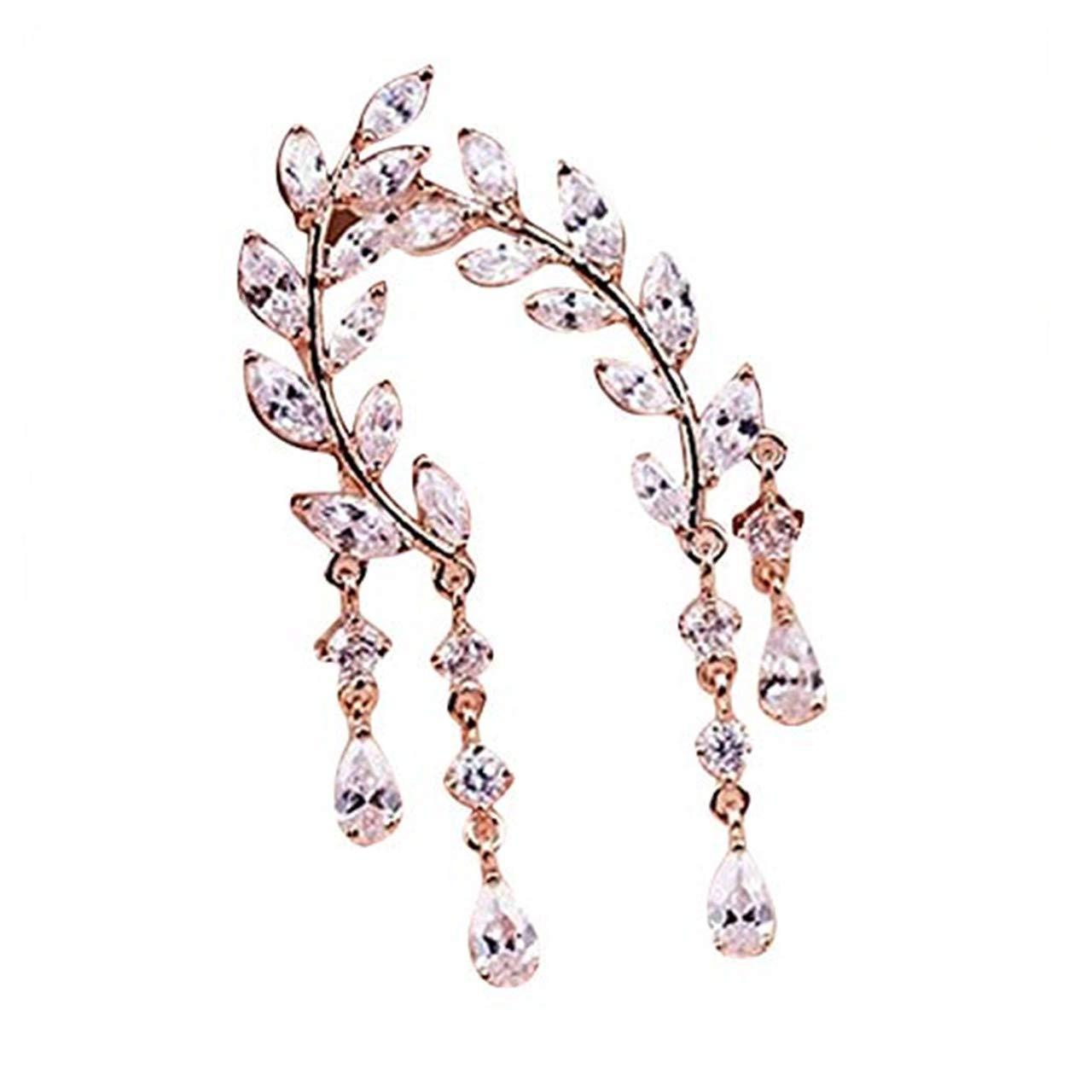Bravetoshop Cuffs Hoop Earring for Women Fashion Crystal Rhinestone Leaves Tassel Ear Stud Earrings Jewelry Set Girls Gifts
