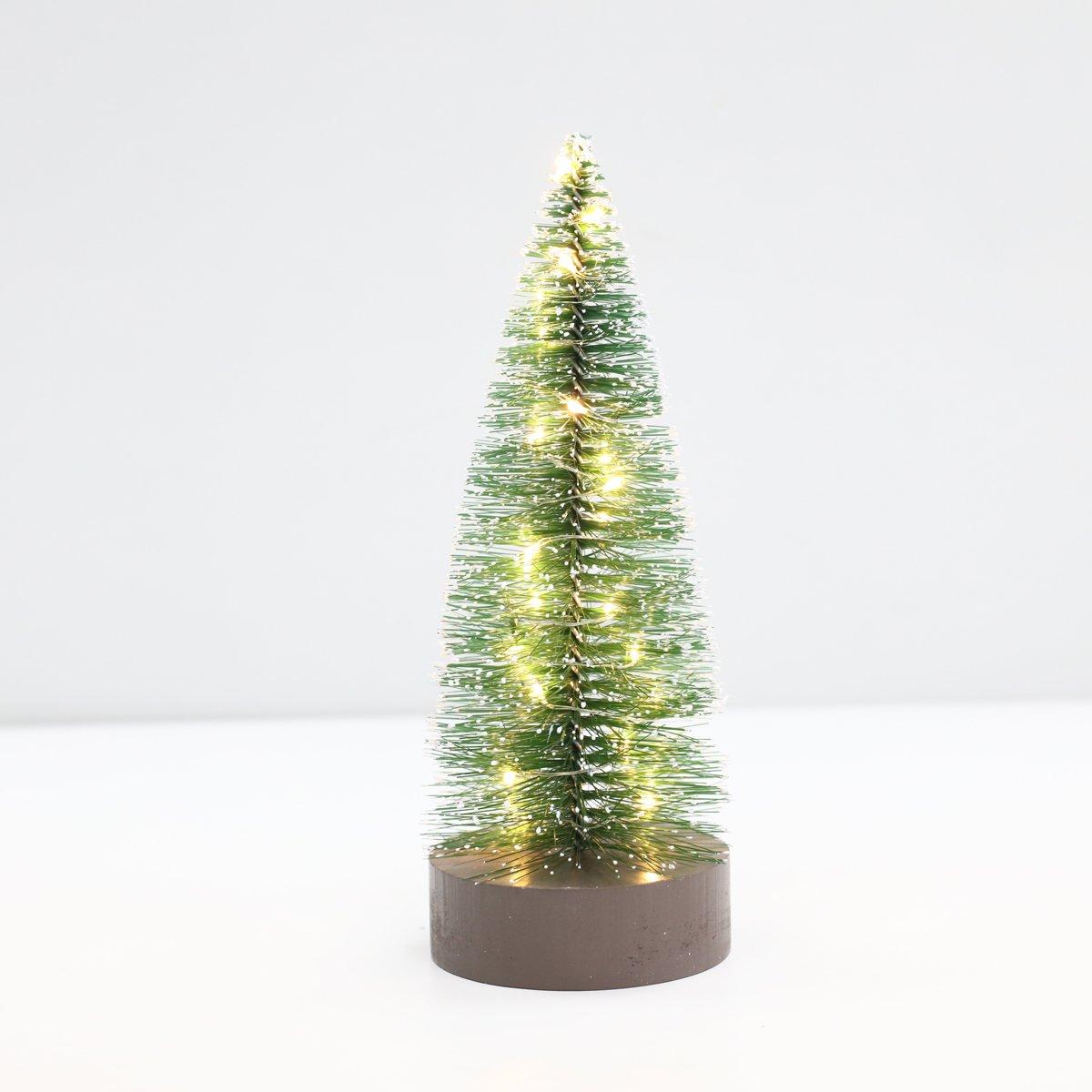 Amazon.com: PIONEER-EFFORT Árbol de Navidad del cepillo de botella miniatura de 8.5 pulgadas con las luces llevadas: Home & Kitchen