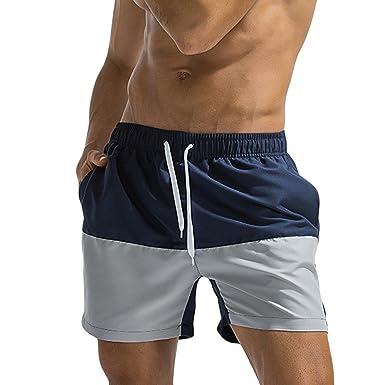 Fashion Shorts Homme✪Robemon Respirant Homme Short Pantalon Collision de  Couleurs Natation Homme Short de e594b16a9b1