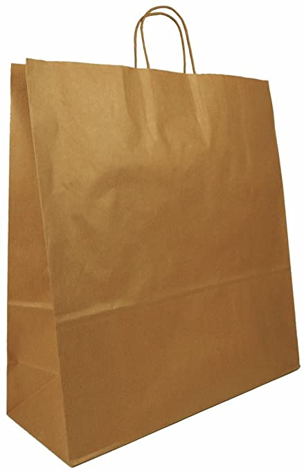 f9b935b75c0 50 x Natural Brown Twisted Handle Paper Bags, 45cm wide, Extra Large, A3