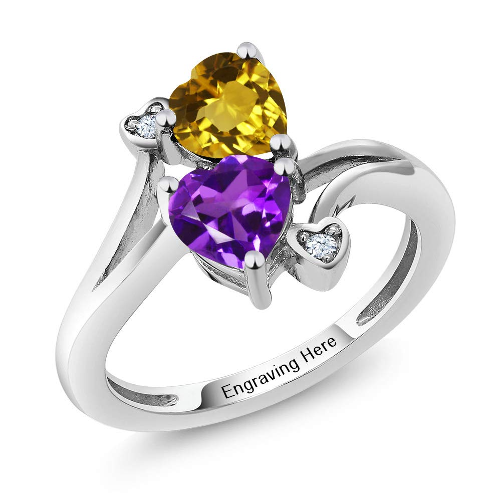Gem Stone King 925 Sterling Silver Promise Customized and Personalized Build Your Own 2 Birthstone For Her Heart Engagement Ring (Available in size 5,6,7,8,9) by Gem Stone King