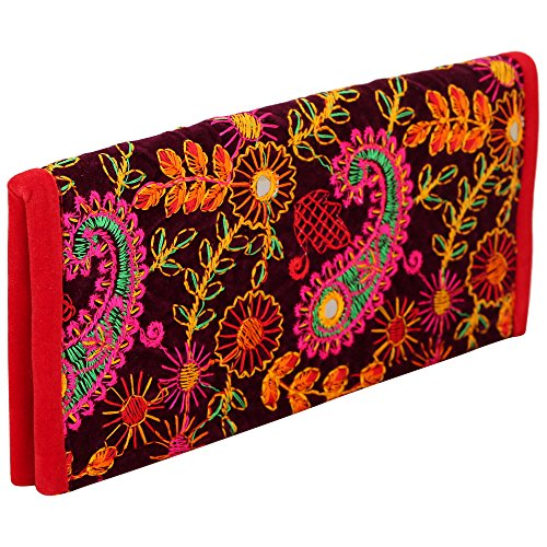 Jwellmart Indian Handicraft Ethnic Traditional Embroidered Wallet Clutch Foldover Purse for Women and Girls (Multicolor)